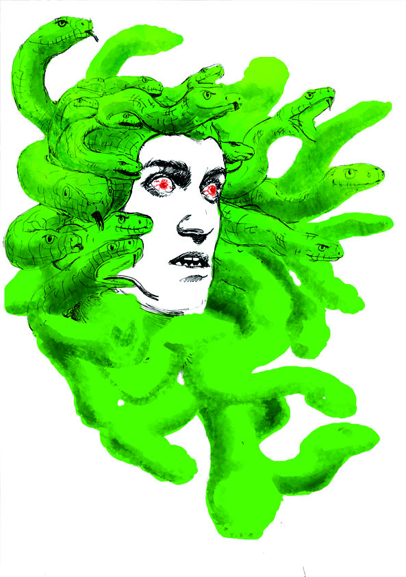 Beardyman Poster Illustration Medusa Schlangen