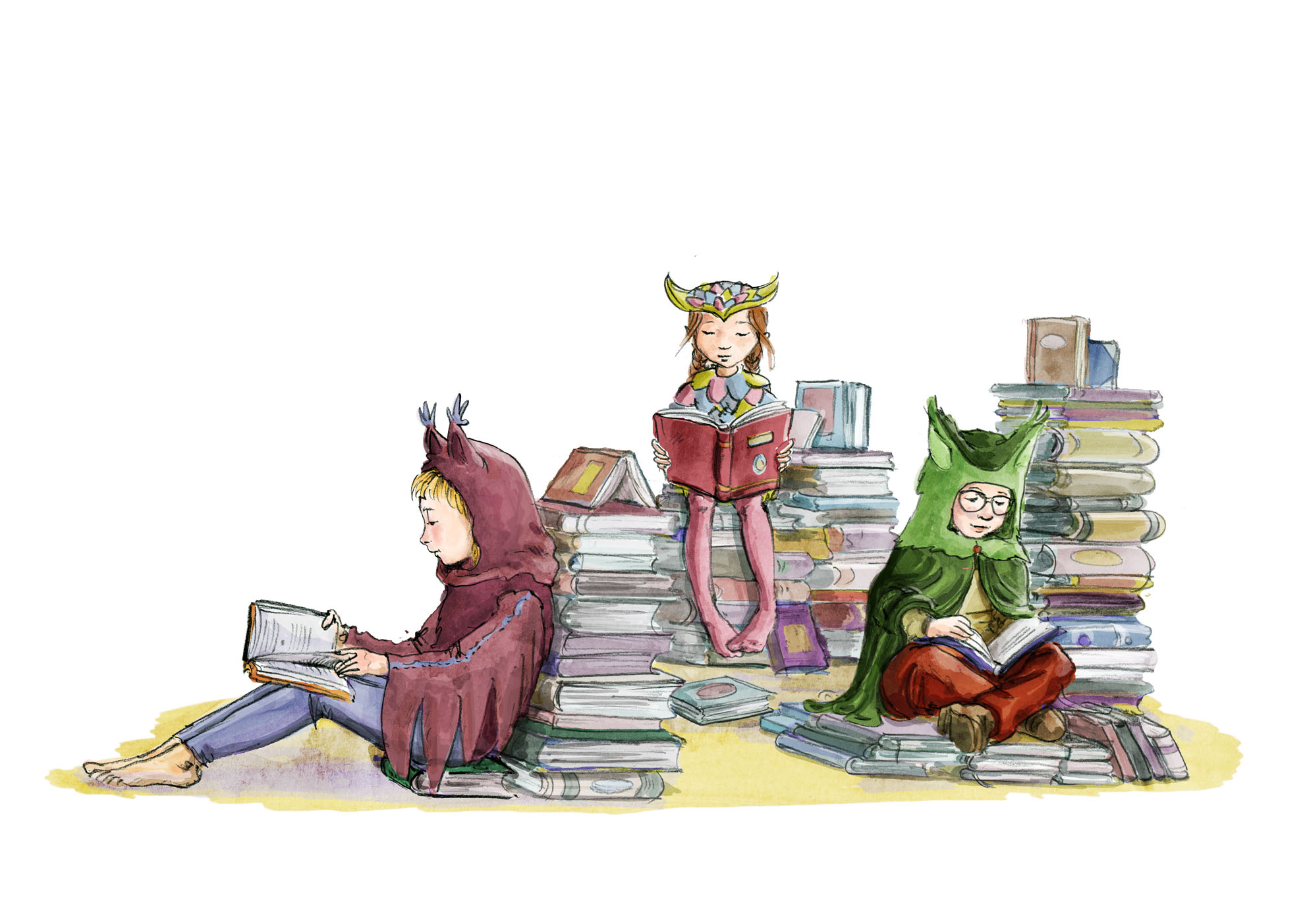 Drei Kinder sind als Eulen verkleidet und sitzen auf und neben vielen Stapeln bunter Bücher und lesen. Three children are dressed as owls and are sitting among piles of books, each one reading a book.