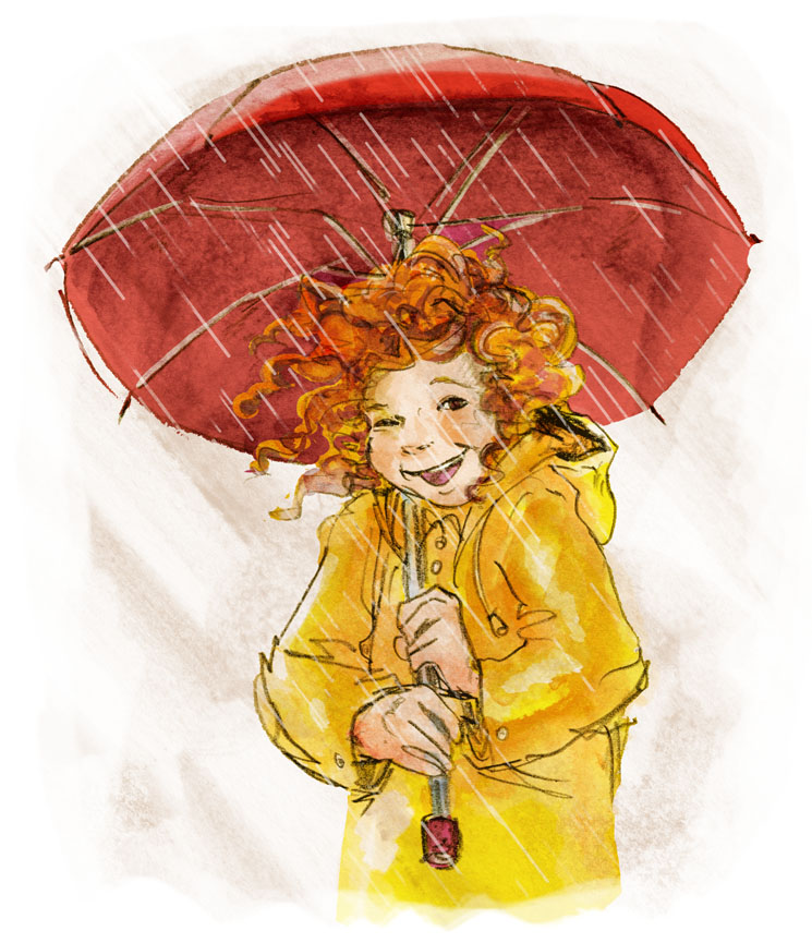Ein rotgelocktes Mädchen in einer gelben Regenjacke steht lachend mit einem geöffneten Regenschirm im strömenden Regen. A little redhead girl is standing in the rain with a big red umbrella.