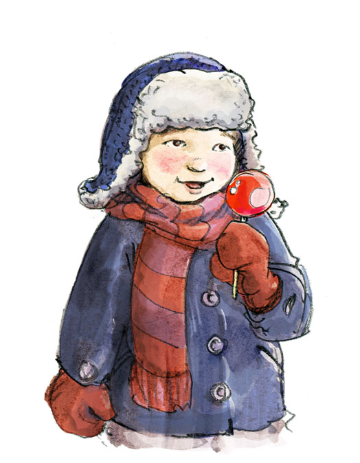Kind in Mantel, Schal, Handschuhe und Mütze mit einem kandierten Apfel. Child dressed in winter coat, scarf, gloves and hat holding a candy apple.
