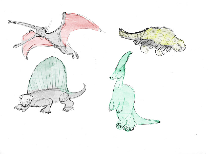 Farbige Skizze von vier Dinosauriern verschiedener Arten. Colored Sketches of different kinds of dinosaurs.
