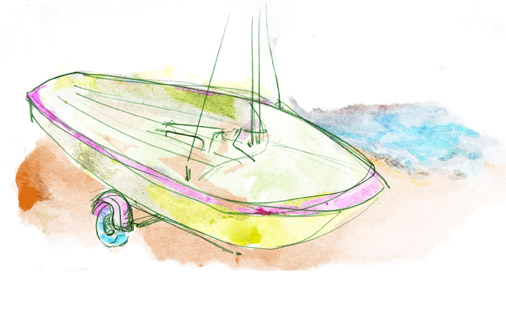 Farbige Skizze eines Bootes. Coloured sketch of boat